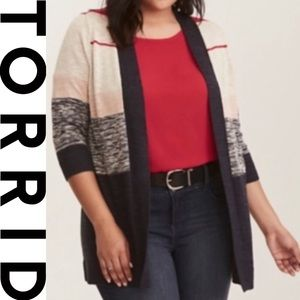 Torrid Multi Stripe Kimono Sweater- New With Tags